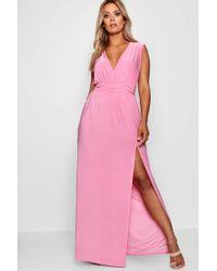 Boohoo - Plus Plunge Slinky High Split Maxi Dress - Lyst