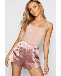 Boohoo - Button Detail Shorts - Lyst