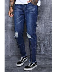 3dfbe387ff058 Lyst - Boohoo Super Skinny Cargo Jeans With Zipped Cuff in Blue for Men