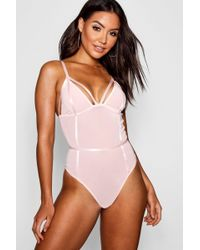 Boohoo - Structured Mesh Thong Body - Lyst