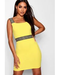 Boohoo - Kenna Greek Key Trim Bodycon Dress - Lyst