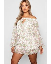Boohoo - Plus Chiffon Floral Off Shoulder Playsuit - Lyst