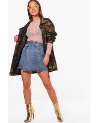 Boohoo - Petite Double Waistband Denim Skirt - Lyst