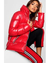 f5cbe6ac5cc1 Missguided High Shine Cropped Padded Jacket in Black - Lyst
