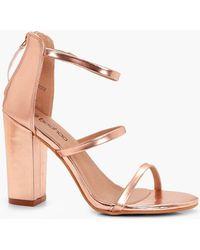 6407a483d95 Lyst - Boohoo Metallic Strappy Low Block Heels in Pink