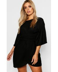 Boohoo - Plus Kimono Sleeve Wrap Dress - Lyst