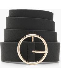 Boohoo - Plus Gold Circle Ring Boyfriend Belt - Lyst