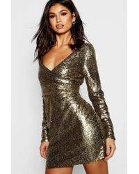 bfedb53f Boohoo Boutique Ava Metallic Sequin Bodycon Dress in Green - Lyst