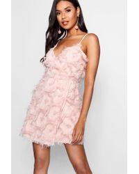Boohoo - Textured Wrap Detail Dress - Lyst