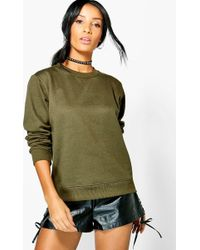 Boohoo - Basic Louise Crew Neck Sweat Shirt - Lyst