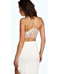 Boohoo - Petite Amy Lace Back Bralet - Lyst