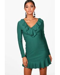 Boohoo - Amilie Ruffle Front Long Sleeve Bodycon Dress - Lyst