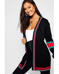 Boohoo - Sports Stripe Colour Block Boyfriend Cardigan - Lyst