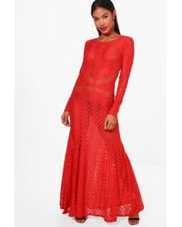 Boohoo - Boutique Lace Open Back Maxi Dress - Lyst