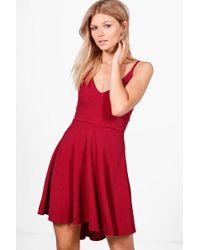 Boohoo | Petite Tilly Dip Hem Plunge Skater Dress | Lyst