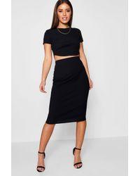 Boohoo - Petite Basic Midi Rib Bodycon Skirt - Lyst