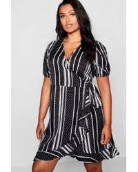 Boohoo - Plus Stripe & Polka Dot Ruffle Wrap Dress - Lyst