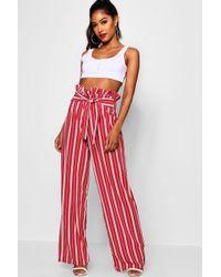 Boohoo - Crepe Stripe Paperbag Wide Leg Trouser - Lyst