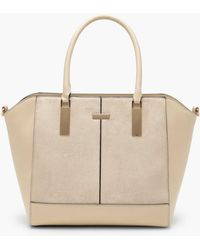Boohoo | Natalie Mixed Textured Tote | Lyst