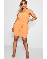 8f7476f063 Boohoo - Plus Katy Ruffle Front Ruched Bodycon Dress - Lyst