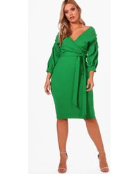 af8f808e82a45 Boohoo Plus Off The Shoulder Wrap Midi Dress in Pink - Lyst