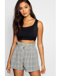 Boohoo - Prince Of Wales Checked Paperbag Short - Lyst