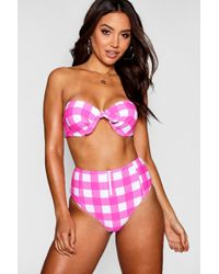 Boohoo - Croatia Gingham Underwired High Waisted Bikini - Lyst