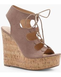 Boohoo - Extreme Cork Lace Up Wedges - Lyst