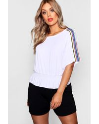 Boohoo - Plus Ruched T Shirt With Sports Trim - Lyst