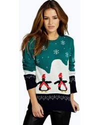 ea71b15fbce Boohoo Maternity Terrie Twinkle Toes Christmas Jumper in Green - Lyst