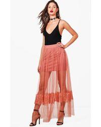Boohoo - Eyelash Lace Tulle Maxi Skirt - Lyst