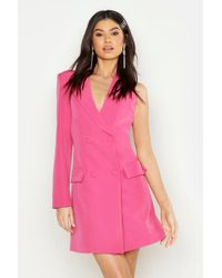 dfbd1a6dfc9 Boohoo - Woven One Sleeve Covered Button Blazer Dress - Lyst