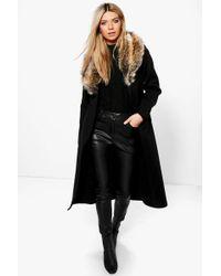Boohoo | Paige Faux Fur Collar Wrap Coat | Lyst