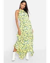28358a5742b Boohoo - Ruffle Detail Halterneck Floral Maxi Dress - Lyst
