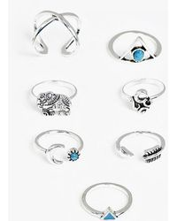 Boohoo - Bella Silver Moon And Stars 7 Ring Pack - Lyst