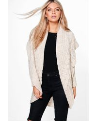 Boohoo - Loose Cable Knit Oversized Cardigan - Lyst