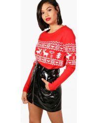 Boohoo - Reindeer Fairisle Christmas Jumper - Lyst