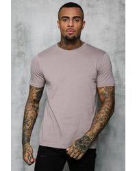c5a62a5c Lyst - Boohoo Longline Curved Hem Man T Shirt in Natural for Men