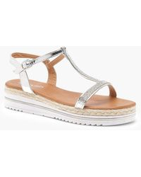Boohoo - Grace Diamante T Bar Cleated Sandals - Lyst