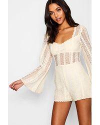 77a6d32ad5 Boohoo - Tall Flare Sleeve Crochet Romper - Lyst