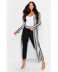 Boohoo - Slinky Stripe Duster Jacket - Lyst