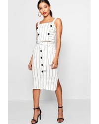 Boohoo - - Button Detail Pinstripe Skirt Co-ord - Lyst