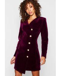 614f98c8d9dca Boohoo - Velvet Military Button Asymmetric Hem Blazer Dress - Lyst