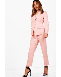 Boohoo - Erin Straight Leg Woven Suit Trouser - Lyst