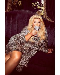 Boohoo - Gemma Collins Wrap Leopard Balloon Sleeve Midi Dress - Lyst