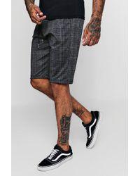 Boohoo - Checked Smart Jogger Shorts - Lyst