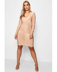 Lyst - Boohoo Plus Laila Plunge U Neck Bodycon Dress in Green 758b29f17