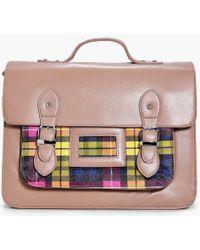 Boohoo - Maisy Neon Tartan Check Pocket Satchel - Lyst