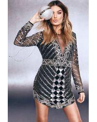 Boohoo - Premium Plunge Sequin Embellished V Hem Dress - Lyst
