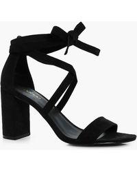 2cd8b308483 Lyst - Boohoo Erin Wrap Up Gladiator Heel in Black